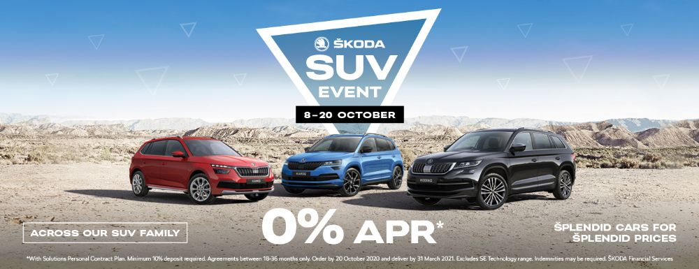 SKODA SUV EVENT - 8th - 20th OCTOBER - 0% APR* ACROSS OUR SUV RANGE